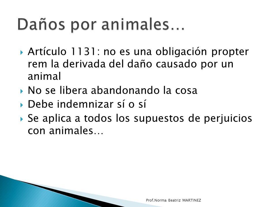 Artículo 1131: no es una obligación propter rem la derivada del daño causado por un animal No se libera abandonando la cosa Debe indemnizar sí o sí Se aplica a todos los supuestos de perjuicios con animales… Prof.Norma Beatriz MARTINEZ
