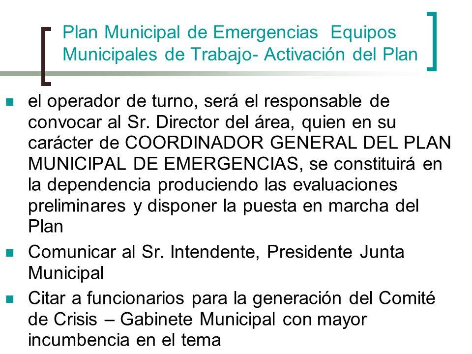 Plan Municipal de Emergencias Equipos Municipales de Trabajo- Activación del Plan el operador de turno, será el responsable de convocar al Sr. Directo