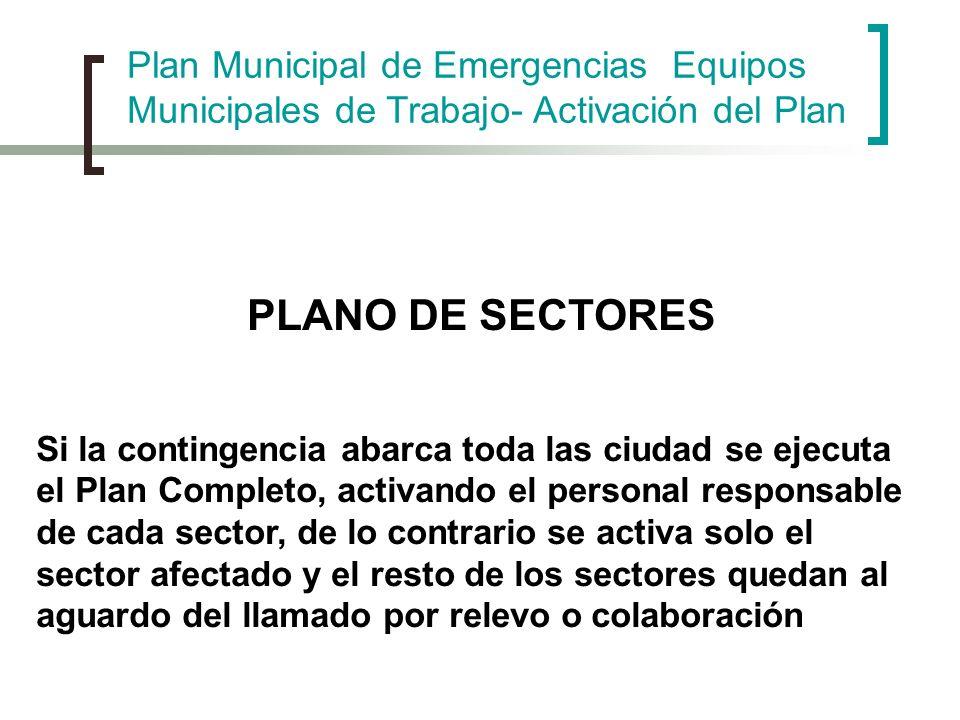 PLANO DE SECTORES Si la contingencia abarca toda las ciudad se ejecuta el Plan Completo, activando el personal responsable de cada sector, de lo contr