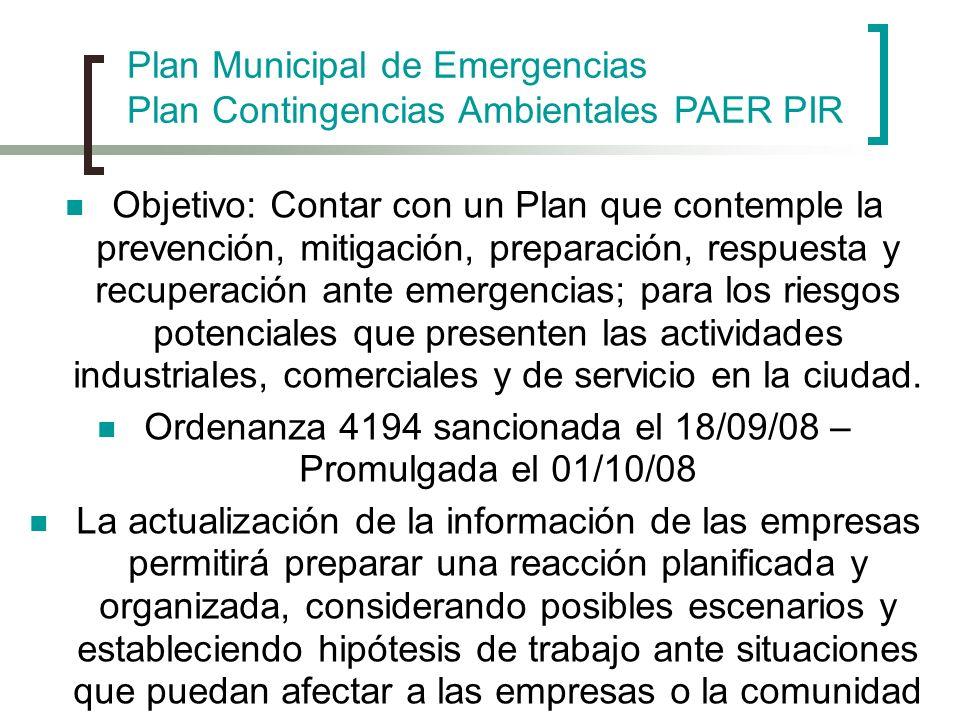 Objetivo: Contar con un Plan que contemple la prevención, mitigación, preparación, respuesta y recuperación ante emergencias; para los riesgos potenci