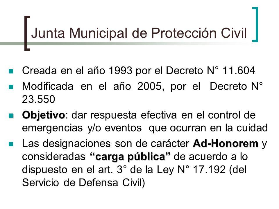 Junta Municipal de Protección Civil Creada en el año 1993 por el Decreto N° 11.604 Modificada en el año 2005, por el Decreto N° 23.550 Objetivo Objeti