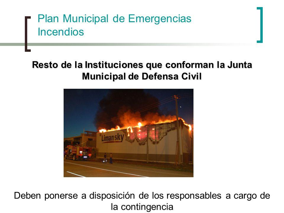 Plan Municipal de Emergencias Incendios Resto de la Instituciones que conforman la Junta Municipal de Defensa Civil Deben ponerse a disposición de los