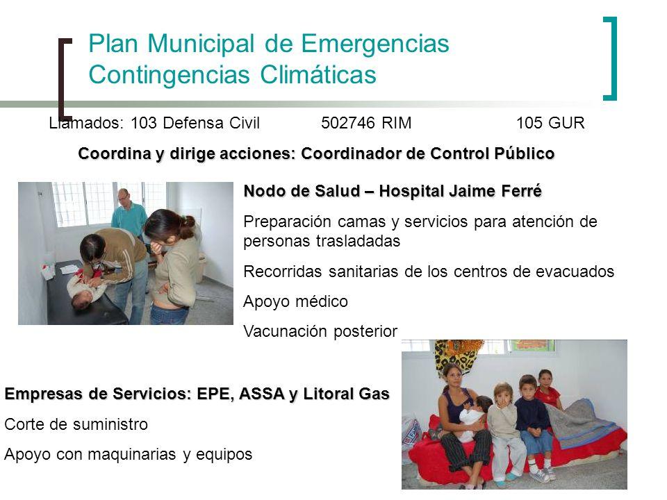 Plan Municipal de Emergencias Contingencias Climáticas Llamados: 103 Defensa Civil 502746 RIM105 GUR Coordina y dirige acciones: Coordinador de Contro
