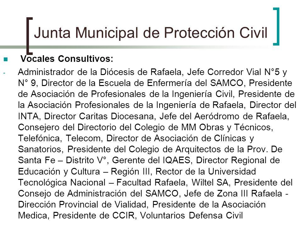 Junta Municipal de Protección Civil Vocales Consultivos: - Administrador de la Diócesis de Rafaela, Jefe Corredor Vial N°5 y N° 9, Director de la Escu