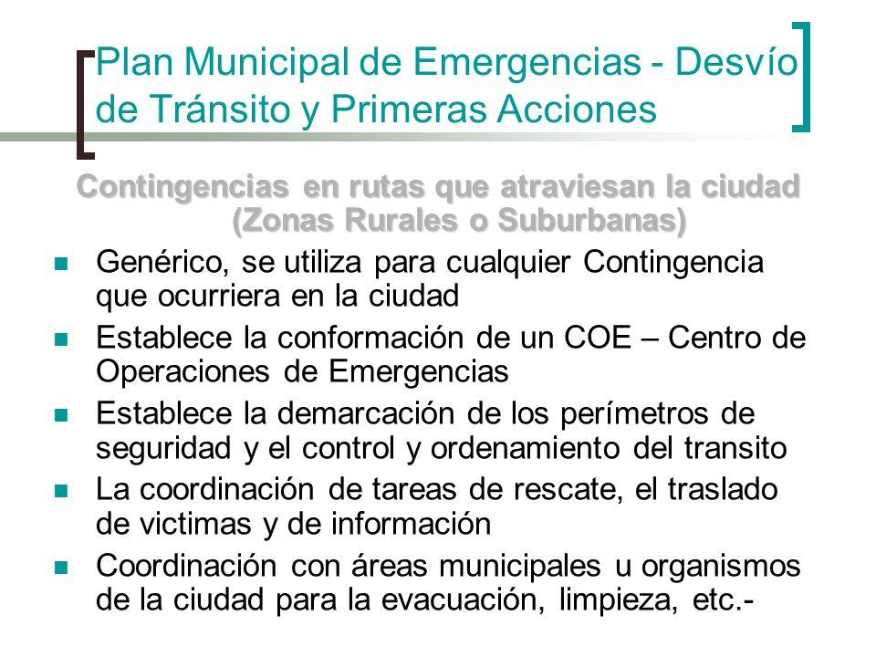 Plan Municipal de Emergencias - Desvío de Tránsito y Primeras Acciones Contingencias en rutas que atraviesan la ciudad (Zonas Rurales o Suburbanas) Ge