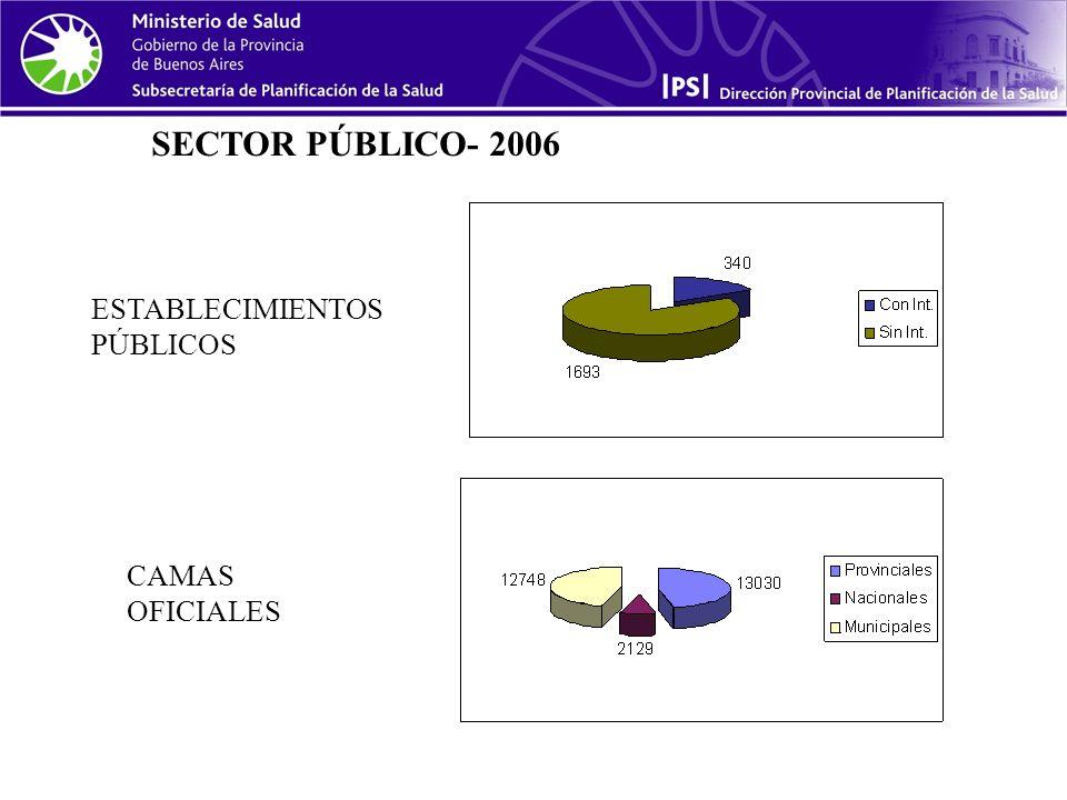 SECTOR PÚBLICO- 2006 ESTABLECIMIENTOS PÚBLICOS CAMAS OFICIALES