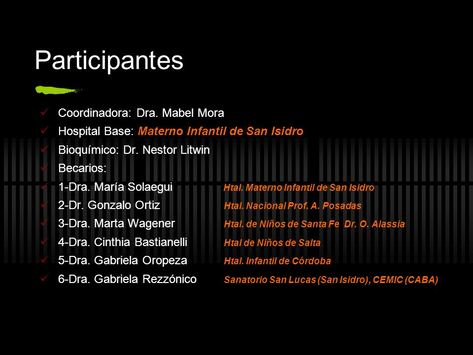 Participantes Coordinadora: Dra.