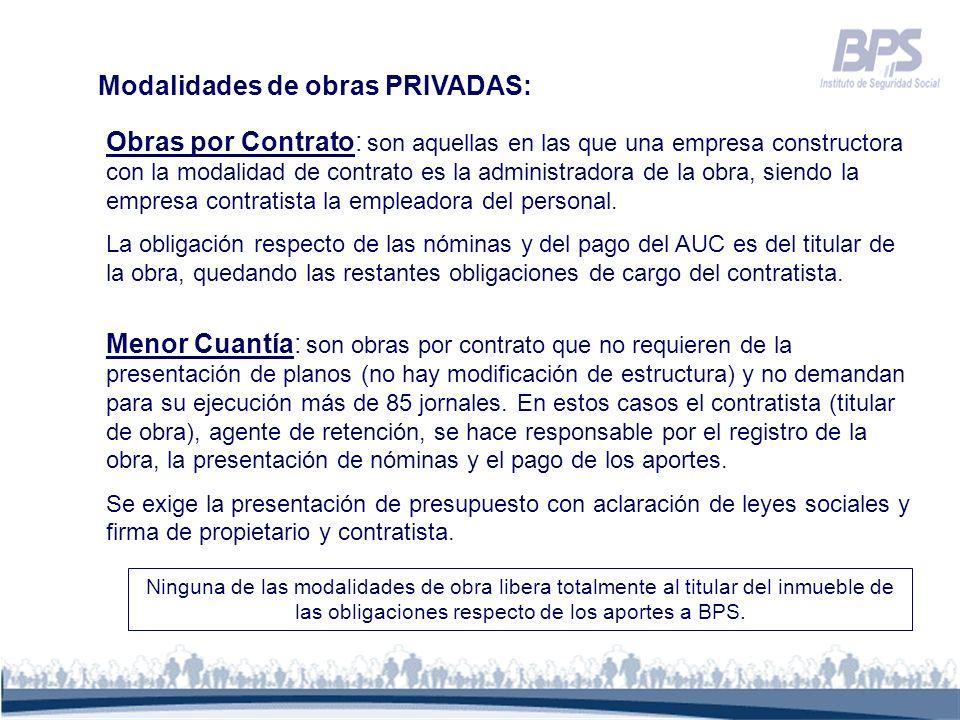 Modalidades de obras PRIVADAS: Obras por Contrato: son aquellas en las que una empresa constructora con la modalidad de contrato es la administradora