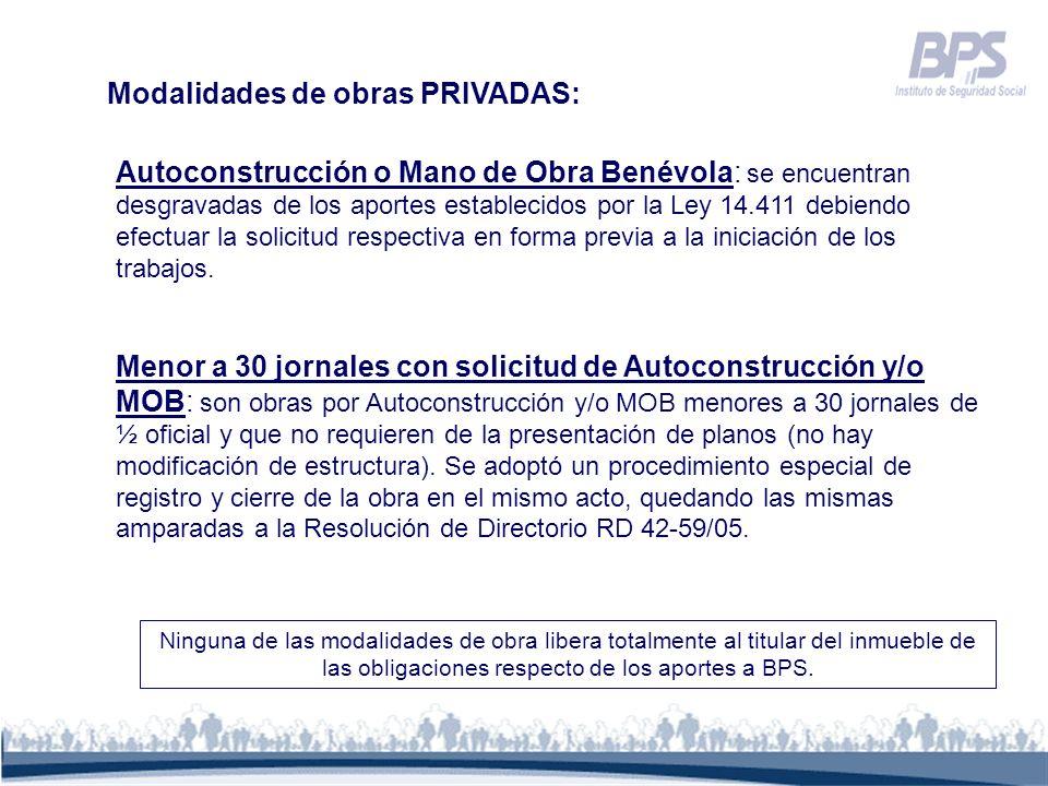 Modalidades de obras PRIVADAS: Autoconstrucción o Mano de Obra Benévola: se encuentran desgravadas de los aportes establecidos por la Ley 14.411 debie