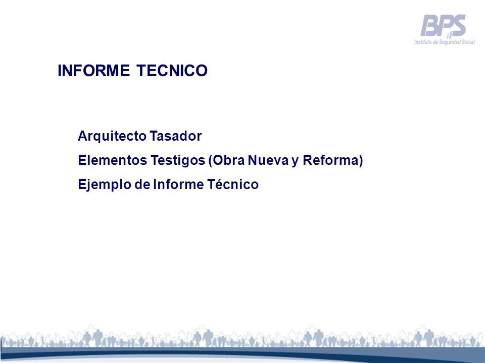 INFORME TECNICO Arquitecto Tasador Elementos Testigos (Obra Nueva y Reforma) Ejemplo de Informe Técnico