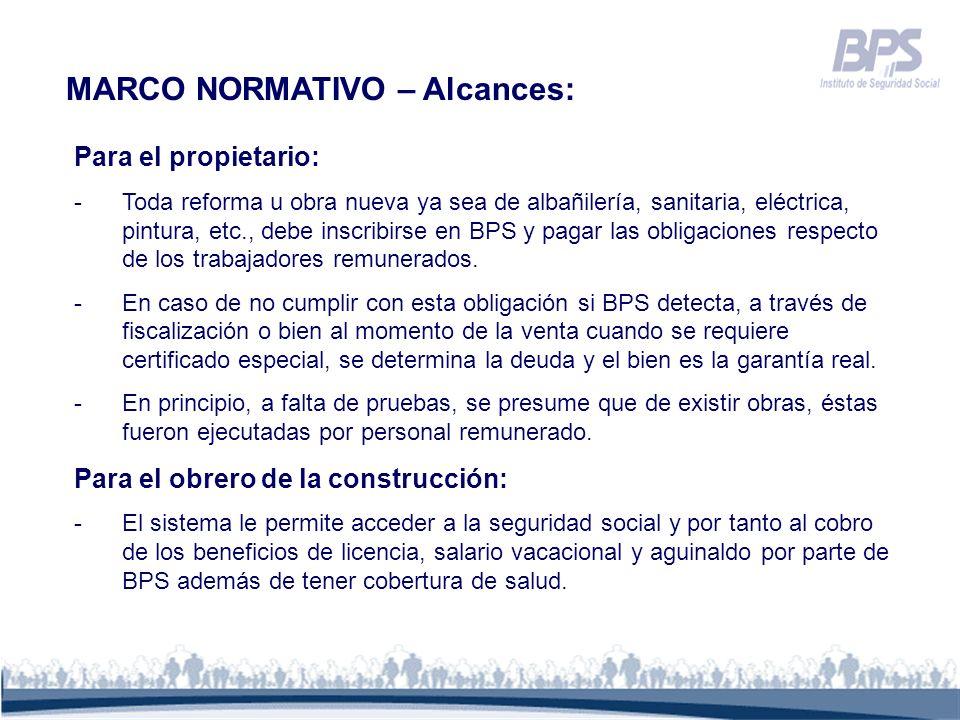 MARCO NORMATIVO – Alcances: Para el propietario: -Toda reforma u obra nueva ya sea de albañilería, sanitaria, eléctrica, pintura, etc., debe inscribir