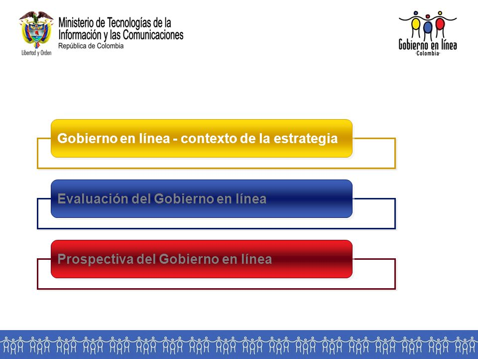 Gobierno en línea - contexto de la estrategia Evaluación del Gobierno en línea Prospectiva del Gobierno en línea