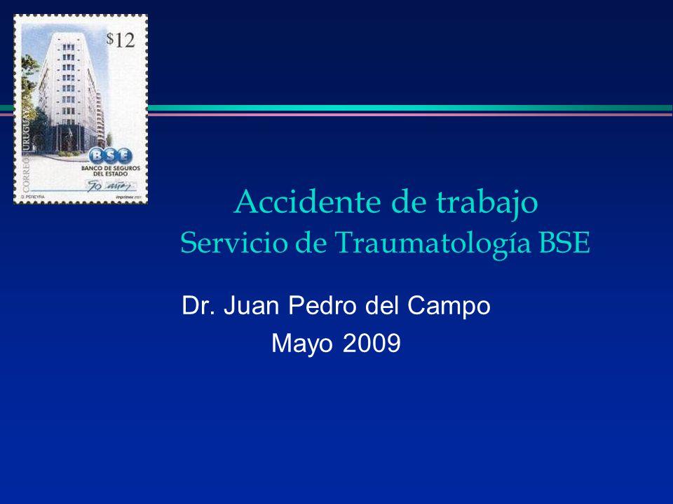 Dr. Juan Pedro del Campo Mayo 2009 Accidente de trabajo Servicio de Traumatología BSE