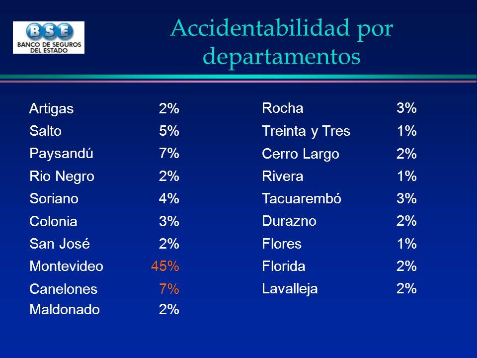 Accidentabilidad por departamentos Artigas2% Salto5% Paysandú7% Rio Negro2% Soriano4% Colonia3% San José2% Montevideo45% Canelones7% Maldonado2% Rocha