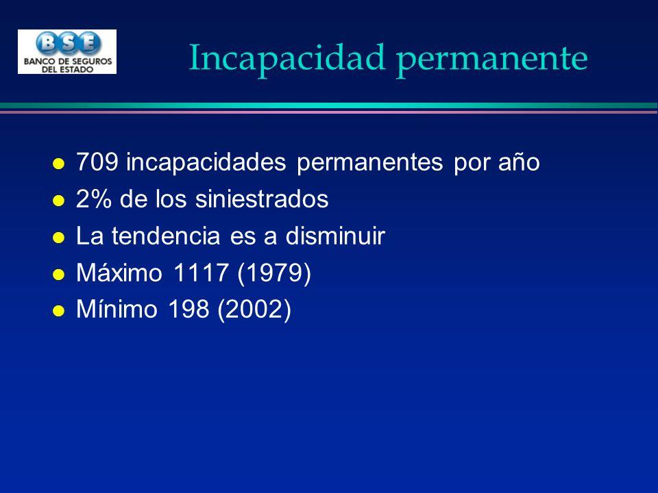 Incapacidad permanente l 709 incapacidades permanentes por año l 2% de los siniestrados l La tendencia es a disminuir l Máximo 1117 (1979) l Mínimo 19