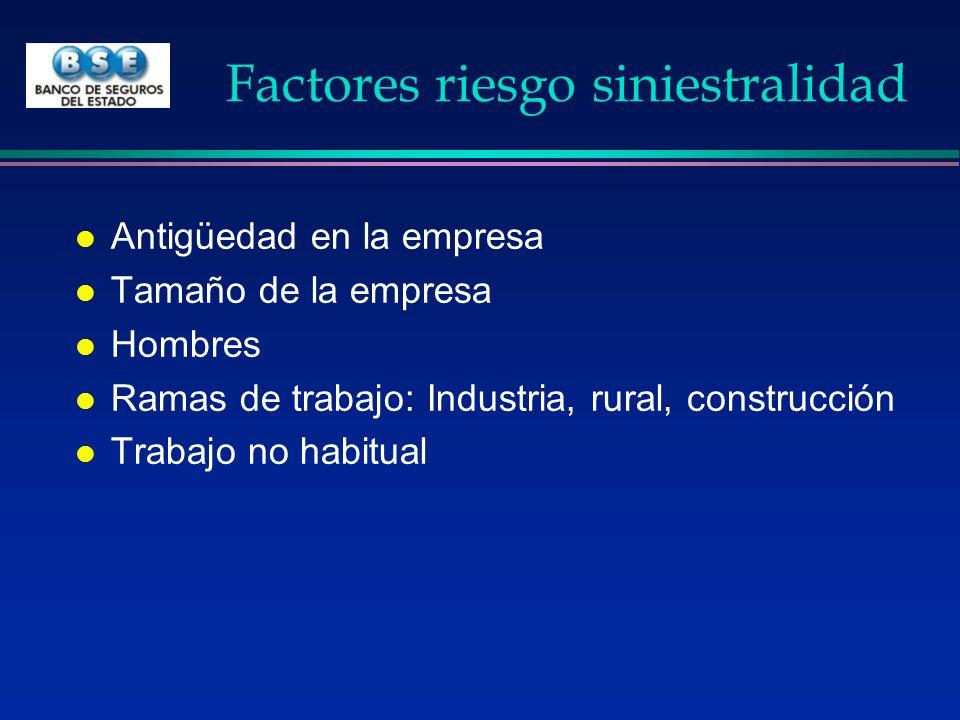 Factores riesgo siniestralidad l Antigüedad en la empresa l Tamaño de la empresa l Hombres l Ramas de trabajo: Industria, rural, construcción l Trabaj