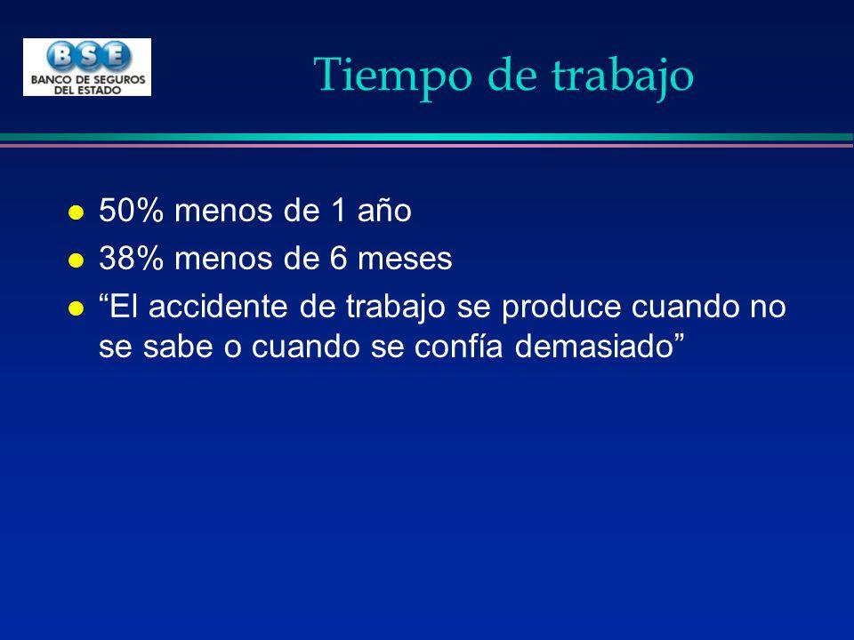 Tiempo de trabajo l 50% menos de 1 año l 38% menos de 6 meses l El accidente de trabajo se produce cuando no se sabe o cuando se confía demasiado