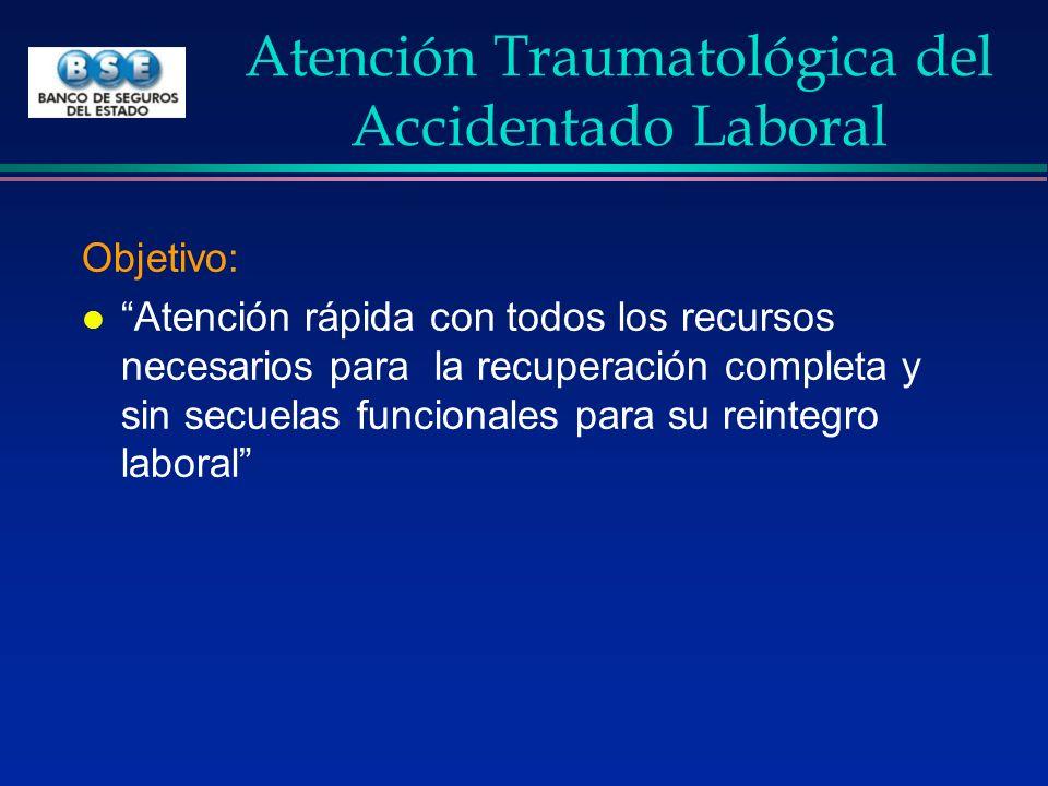 Atención Traumatológica del Accidentado Laboral Objetivo: l Atención rápida con todos los recursos necesarios para la recuperación completa y sin secu