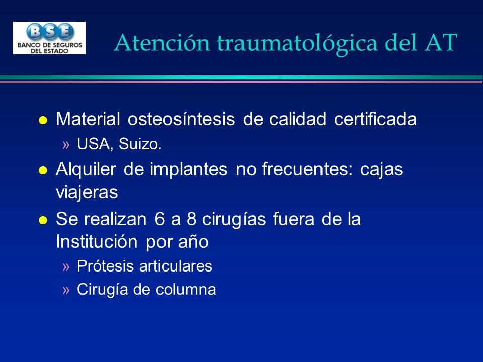 Atención traumatológica del AT l Material osteosíntesis de calidad certificada »USA, Suizo. l Alquiler de implantes no frecuentes: cajas viajeras l Se