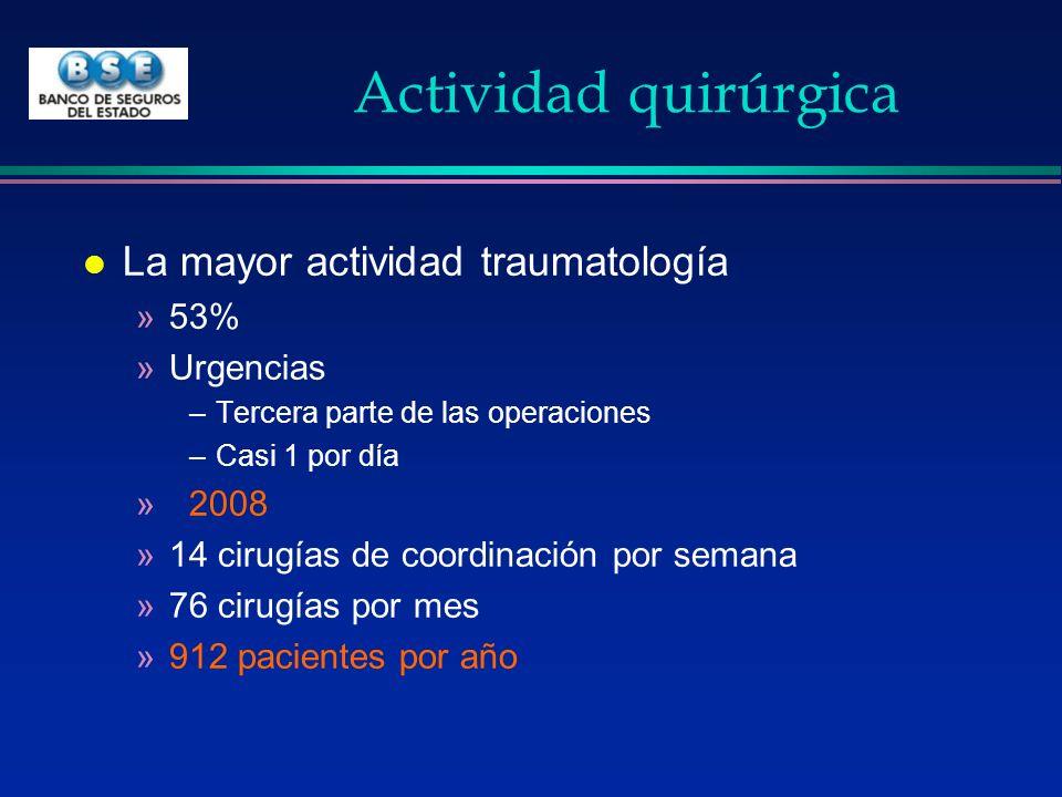 Actividad quirúrgica l La mayor actividad traumatología »53% »Urgencias –Tercera parte de las operaciones –Casi 1 por día »2008 »14 cirugías de coordi