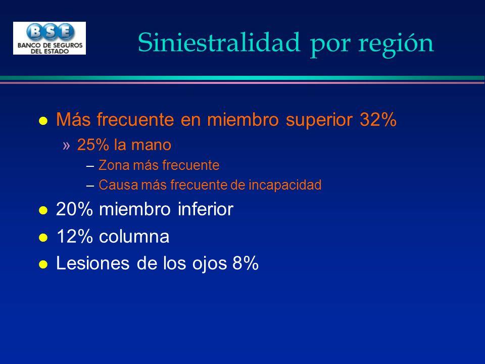 Siniestralidad por región l Más frecuente en miembro superior 32% »25% la mano –Zona más frecuente –Causa más frecuente de incapacidad l 20% miembro i