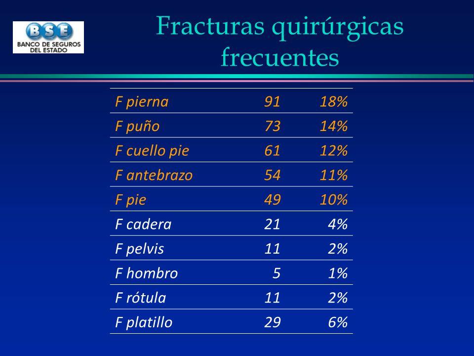Fracturas quirúrgicas frecuentes F pierna9118% F puño7314% F cuello pie6112% F antebrazo5411% F pie4910% F cadera214% F pelvis112% F hombro51% F rótul