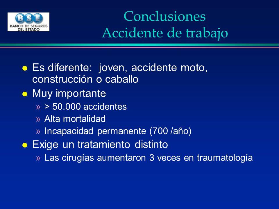Conclusiones Accidente de trabajo l Es diferente: joven, accidente moto, construcción o caballo l Muy importante »> 50.000 accidentes »Alta mortalidad