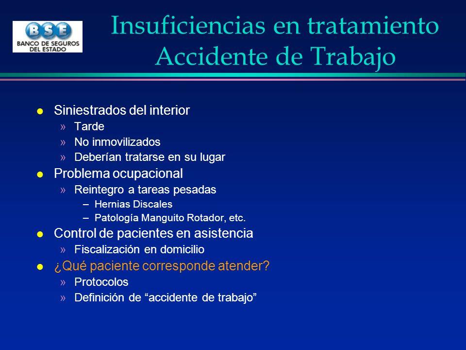 Insuficiencias en tratamiento Accidente de Trabajo l Siniestrados del interior »Tarde »No inmovilizados »Deberían tratarse en su lugar l Problema ocup