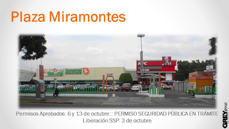 Plaza Miramontes Permisos Aprobados: 6 y 13 de octubre :: PERMISO SEGURIDAD PÚBLICA EN TRÁMITE Liberación SSP: 3 de octubre