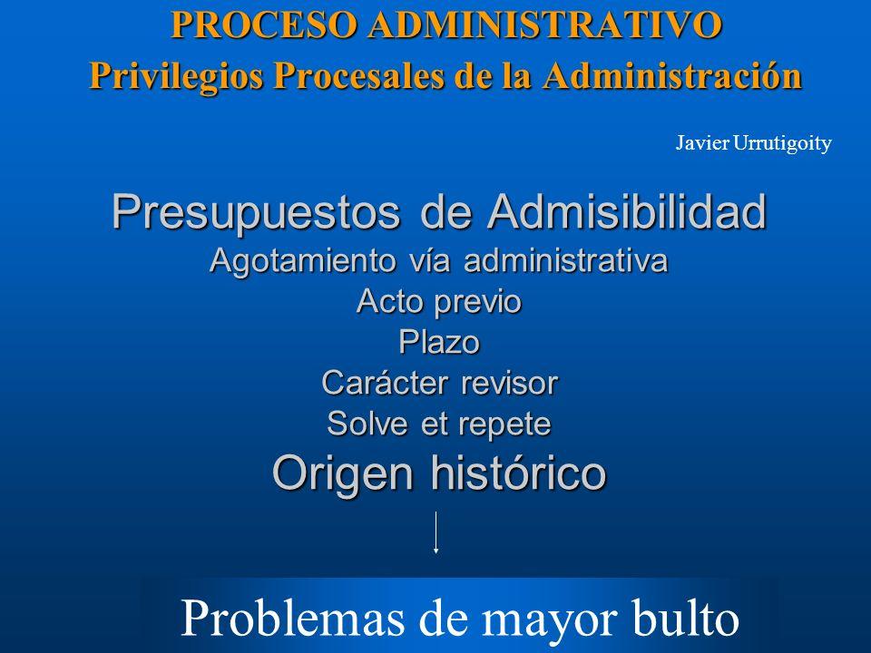 Presupuestos de Admisibilidad Agotamiento vía administrativa Acto previo Plazo Carácter revisor Solve et repete Origen histórico PROCESO ADMINISTRATIV