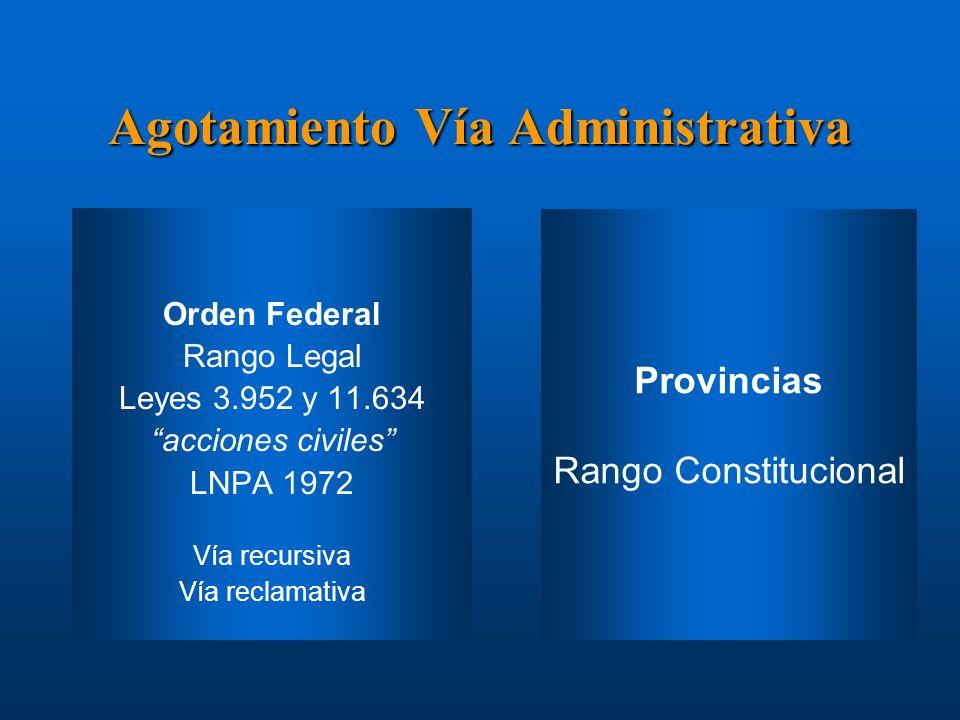 Agotamiento Vía Administrativa Orden Federal Rango Legal Leyes 3.952 y 11.634 acciones civiles LNPA 1972 Vía recursiva Vía reclamativa Instrucciones: