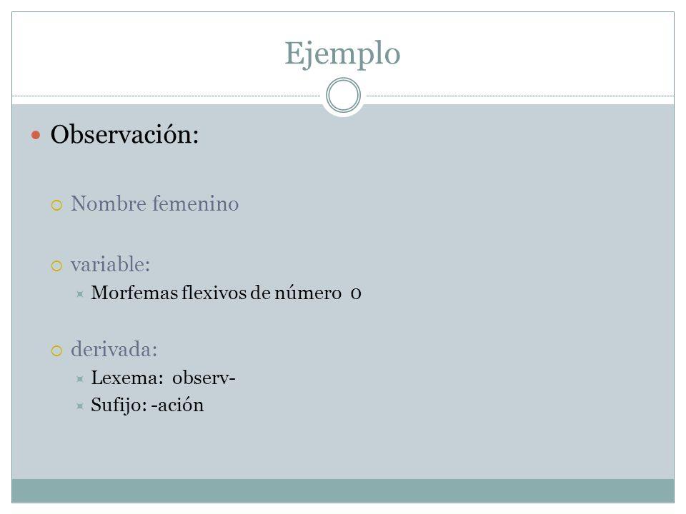 Ejemplo Observación: Nombre femenino variable: Morfemas flexivos de número 0 derivada: Lexema: observ- Sufijo: -ación