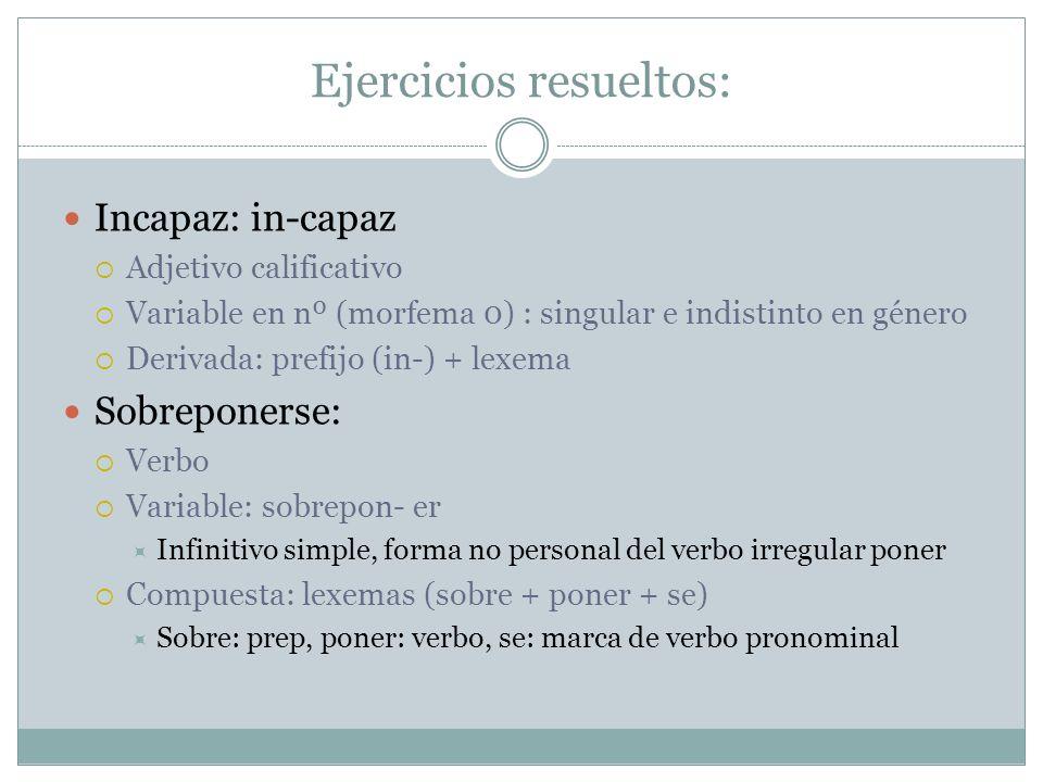 Ejercicios resueltos: Incapaz: in-capaz Adjetivo calificativo Variable en nº (morfema 0) : singular e indistinto en género Derivada: prefijo (in-) + l