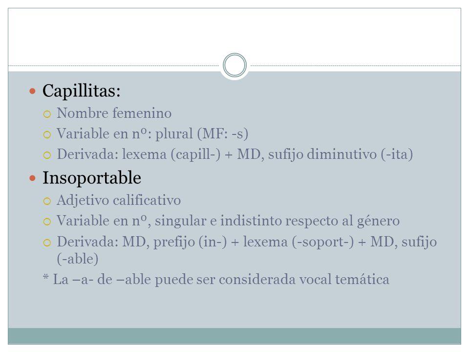 Capillitas: Nombre femenino Variable en nº: plural (MF: -s) Derivada: lexema (capill-) + MD, sufijo diminutivo (-ita) Insoportable Adjetivo calificati