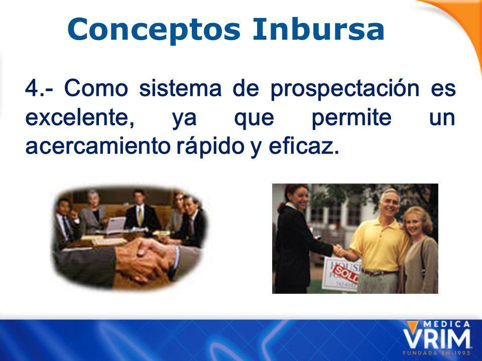 Conceptos Inbursa 3.- Al ser más fácil de vender le permite al vendedor novato obtener ingresos más rápidamente, evitando que se desanime.