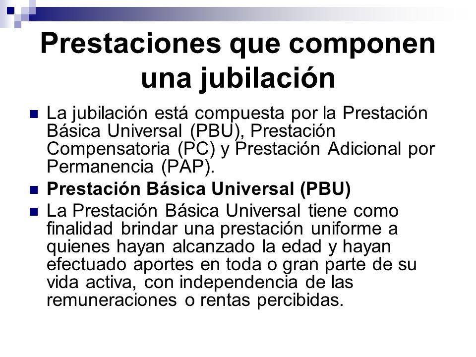 Prestaciones que componen una jubilación La jubilación está compuesta por la Prestación Básica Universal (PBU), Prestación Compensatoria (PC) y Presta