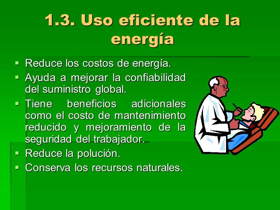 1.3. Uso eficiente de la energía Reduce los costos de energía. Reduce los costos de energía. Ayuda a mejorar la confiabilidad del suministro global. A