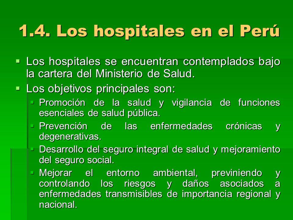 1.4. Los hospitales en el Perú Los hospitales se encuentran contemplados bajo la cartera del Ministerio de Salud. Los hospitales se encuentran contemp