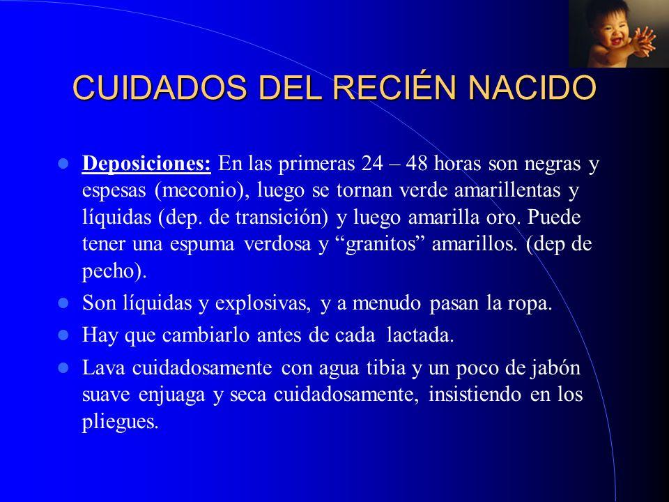 CUIDADOS DEL RECIÉN NACIDO Deposiciones: En las primeras 24 – 48 horas son negras y espesas (meconio), luego se tornan verde amarillentas y líquidas (