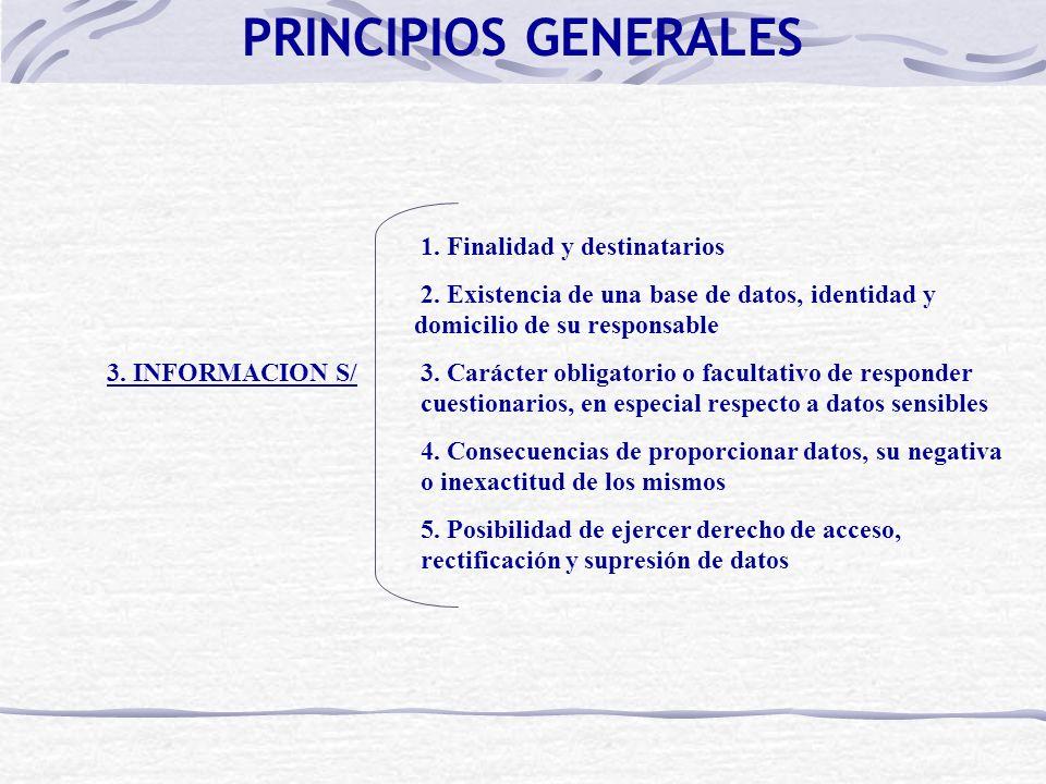 1. Finalidad y destinatarios 2. Existencia de una base de datos, identidad y domicilio de su responsable 3. INFORMACION S/ 3. Carácter obligatorio o f
