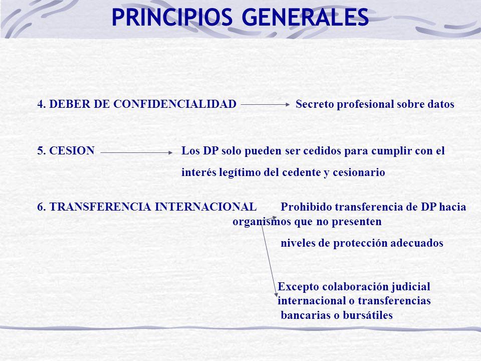 4. DEBER DE CONFIDENCIALIDAD Secreto profesional sobre datos 5. CESIONLos DP solo pueden ser cedidos para cumplir con el interés legítimo del cedente