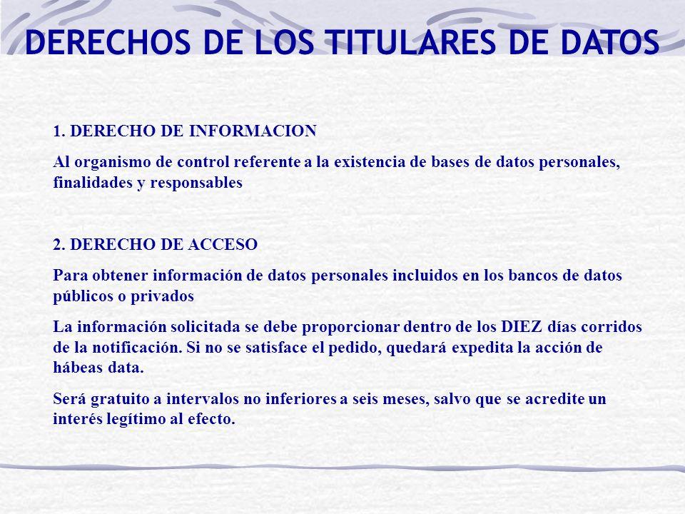 DERECHOS DE LOS TITULARES DE DATOS 1. DERECHO DE INFORMACION Al organismo de control referente a la existencia de bases de datos personales, finalidad