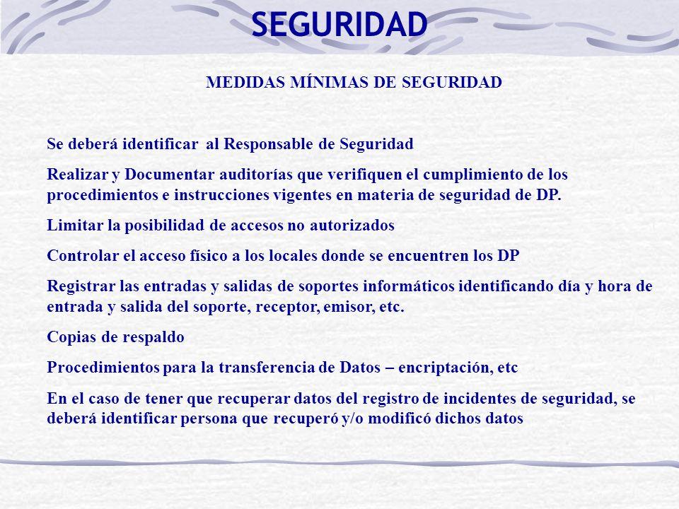 MEDIDAS MÍNIMAS DE SEGURIDAD Se deberá identificar al Responsable de Seguridad Realizar y Documentar auditorías que verifiquen el cumplimiento de los procedimientos e instrucciones vigentes en materia de seguridad de DP.