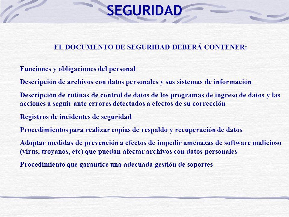 EL DOCUMENTO DE SEGURIDAD DEBERÁ CONTENER: Funciones y obligaciones del personal Descripción de archivos con datos personales y sus sistemas de inform