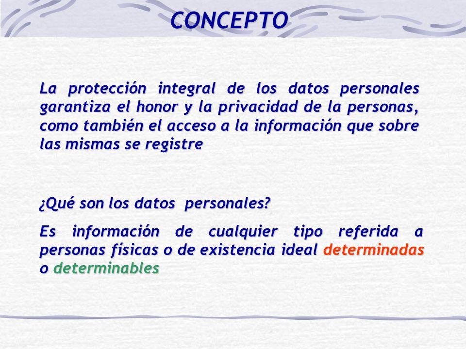 La protección integral de los datos personales garantiza el honor y la privacidad de la personas, como también el acceso a la información que sobre las mismas se registre ¿Qué son los datos personales.