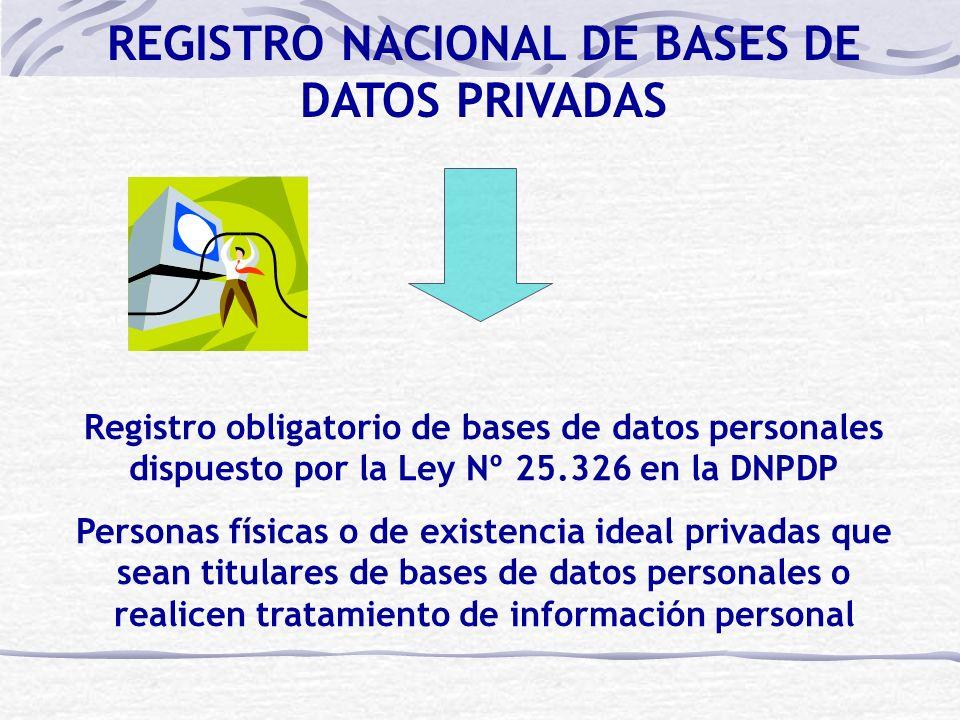 Registro obligatorio de bases de datos personales dispuesto por la Ley Nº 25.326 en la DNPDP Personas físicas o de existencia ideal privadas que sean titulares de bases de datos personales o realicen tratamiento de información personal REGISTRO NACIONAL DE BASES DE DATOS PRIVADAS
