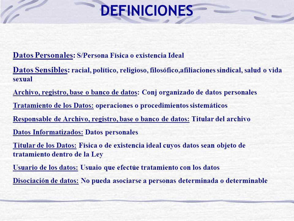 Datos Personales: S/Persona Física o existencia Ideal Datos Sensibles: racial, político, religioso, filosófico,afiliaciones sindical, salud o vida sex
