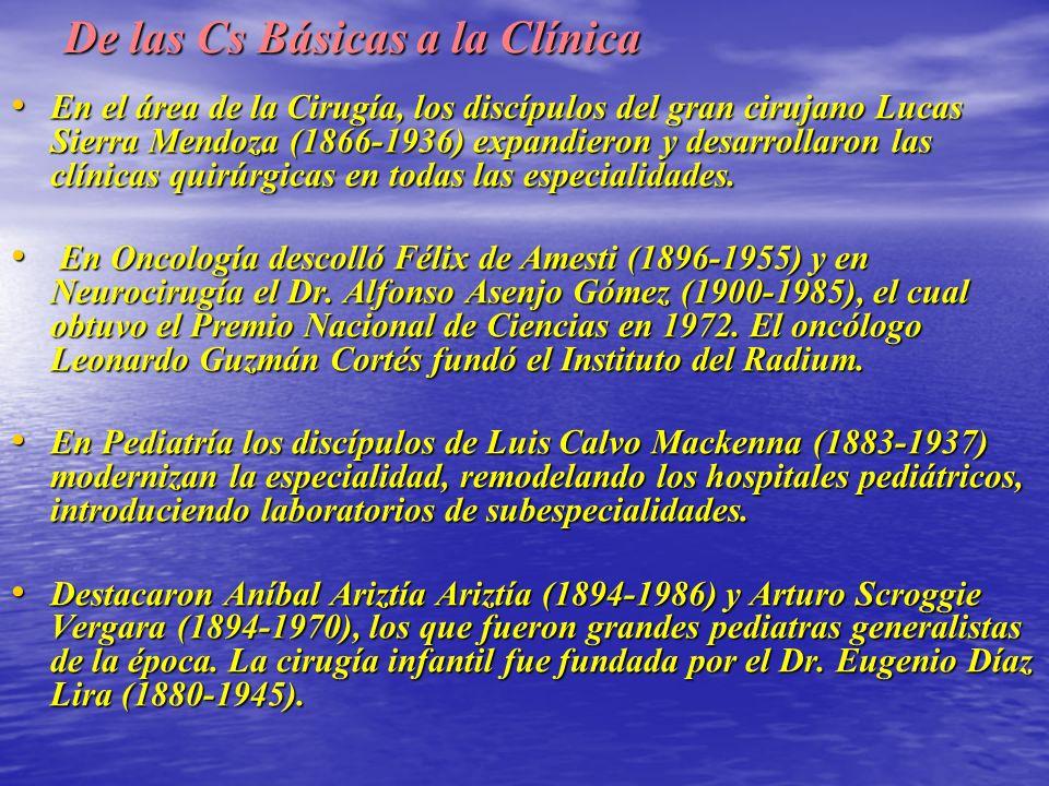 De las Cs Básicas a la Clínica En el área de la Cirugía, los discípulos del gran cirujano Lucas Sierra Mendoza (1866-1936) expandieron y desarrollaron las clínicas quirúrgicas en todas las especialidades.