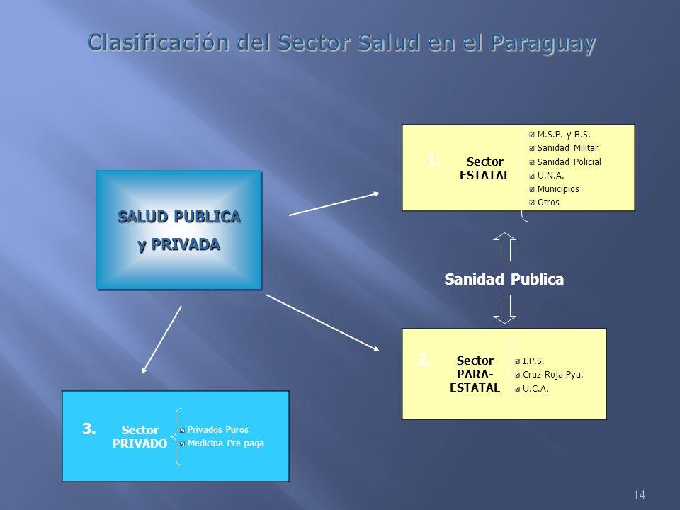 14 SALUD PUBLICA y PRIVADA SALUD PUBLICA y PRIVADA 1. Sector ESTATAL M.S.P. y B.S. Sanidad Militar Sanidad Policial U.N.A. Municipios Otros 2. Sector