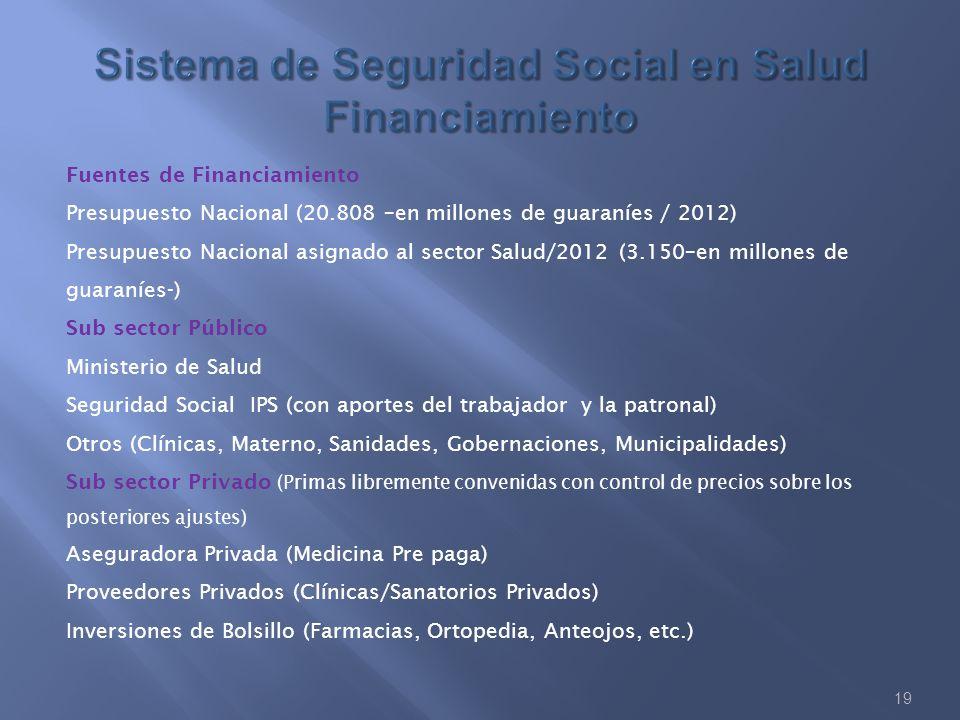 19 Fuentes de Financiamiento Presupuesto Nacional (20.808 –en millones de guaraníes / 2012) Presupuesto Nacional asignado al sector Salud/2012 (3.150–